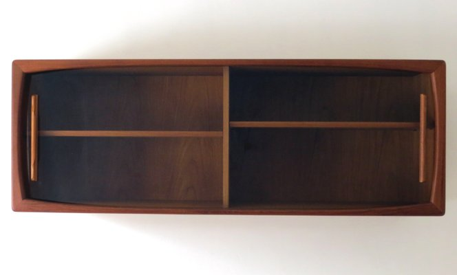 Mid Century Modern Wall Shelf With Sliding Glass Doors From Dyrlund