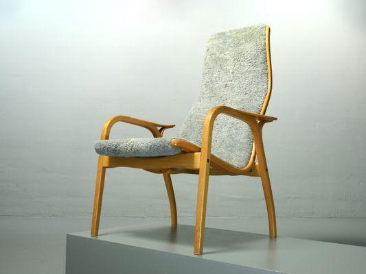 Vintage Lamino Sheepskin Lounge Chair By Yngve Ekström For Swedese, 1980s 2