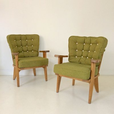 Armchairs by Guillerme et Chambron for Votre Maison, 1950s, Set of 2 2