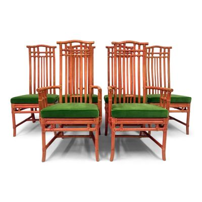 Great Vintage Red Bamboo And Green Velvet Dining Chairs From Mcguire, Set Of 6 1