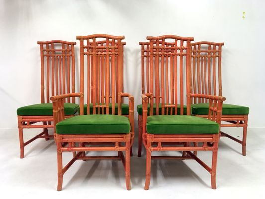 Vintage Red Bamboo And Green Velvet Dining Chairs From Mcguire, Set Of 6 2