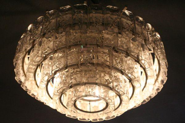 Moderne Lampen 5 : Large 5 tier glass & brass chandelier from doria leuchten for sale