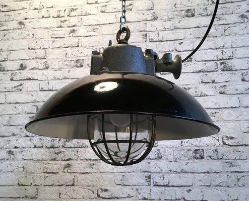 Black enamel cast iron industrial cage pendant lamp 1950s for black enamel cast iron industrial cage pendant lamp mozeypictures Image collections
