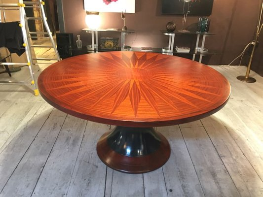 Round Dining Table With Wood Inlay, 1950s 1