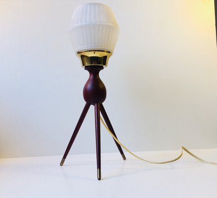 Mid century danish tripod table lamp in teak brass glass 1950s mid century danish tripod table lamp in teak brass glass aloadofball Images