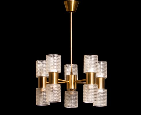 Brass and glass chandelier by carl fagerlund for orrefors 1960s brass and glass chandelier by carl fagerlund for orrefors 1960s 1 mozeypictures Gallery