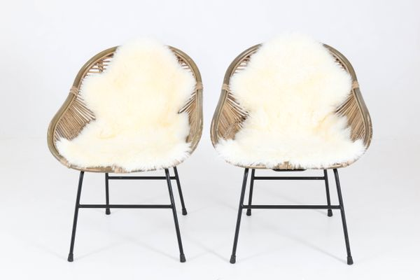 French Mid Century Modern Rattan Chairs, 1960s, Set Of 2 1