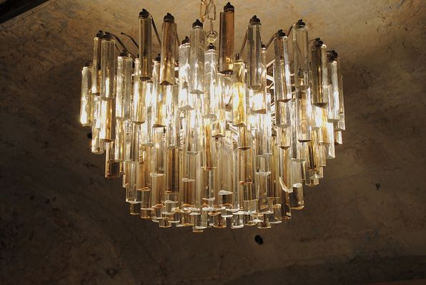 Vintage Tribodo Murano Glass Chandelier By Paolo Venini 1