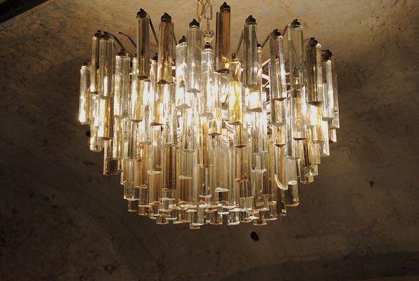 Vintage Tribodo Murano Glass Chandelier By Paolo Venini 1
