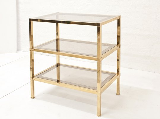 Italian Brass Shelf with Partially Mirrored Smoked Glass Shelves ...