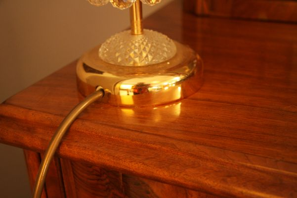 Mid Century Crystal U0026 Brass Table Lamp 3