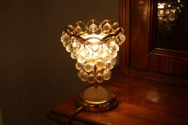 Mid Century Crystal U0026 Brass Table Lamp 2