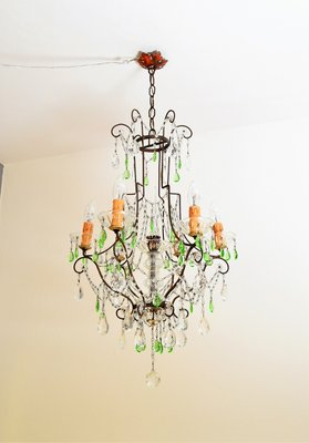 Crystal chandelier with green murano drops 1950s for sale at pamono crystal chandelier with green murano drops 1950s 3 aloadofball Choice Image