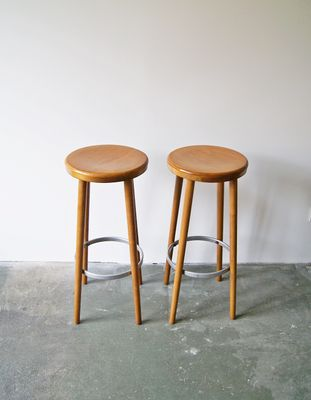Wooden Bar Stools, 1960s, Set Of 2 2