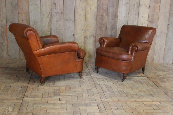 Vintage Italian Leather Armchairs, 1920s, Set Of 2 8