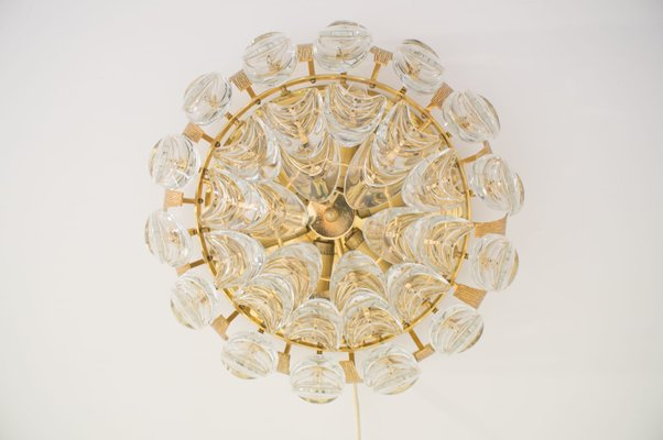Vintage german gilt brass crystal ceiling lamp from palwa