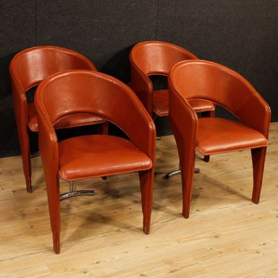 Vintage Italian Leather Chairs, 1960s, Set Of 4 2