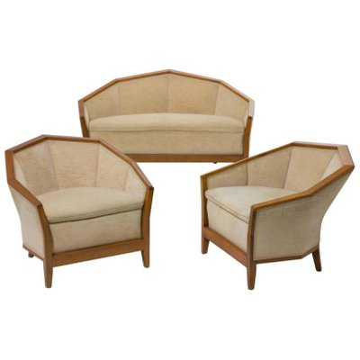 MP174BIS U0026 MF172 Settee And Two Lounge Chairs Set By Pierre Chareau, ...