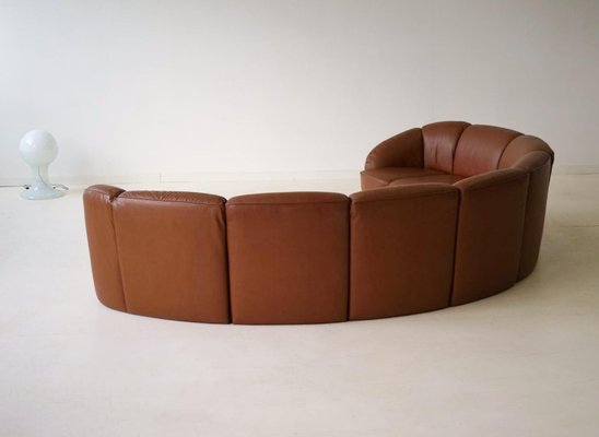 Vintage Curved Leather Sofa By Walter Knoll, 1960s 12