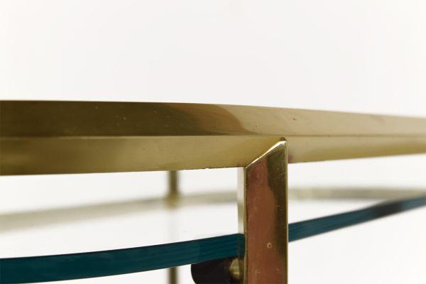 Italian Oval Minimalist Brass And Glass Bar Cart, 1980s 4