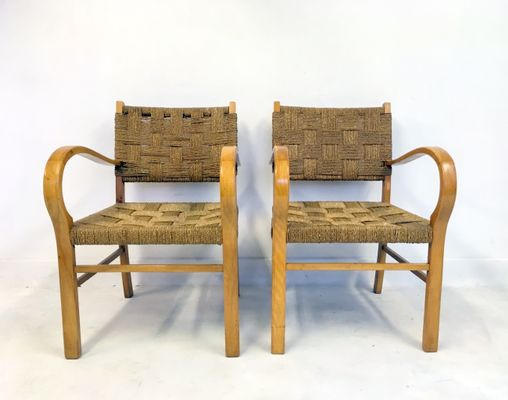 French Beech And Rope Chairs, 1950s, Set Of 4 1