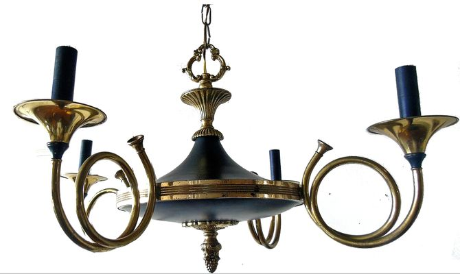 Brass hunting horn chandelier from maison bagues 1940s for sale at brass hunting horn chandelier from maison bagues 1940s 2 aloadofball Choice Image