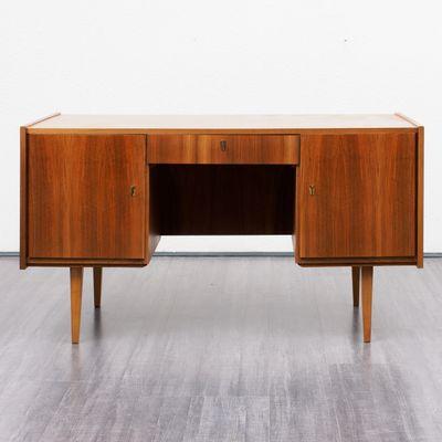 Walnut Veneered Desk 1950s 1
