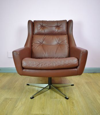 Mid Century Danish Brown Leather Swivel Lounge Chair, 1960s 1