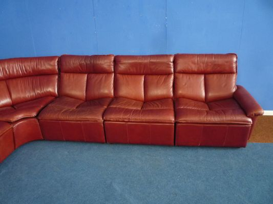 Delightful Modular Red Leather Sofa, 1970s 6