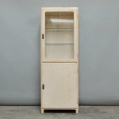 Vintage Medical Wood U0026 Glass Cabinet, 1930s 1