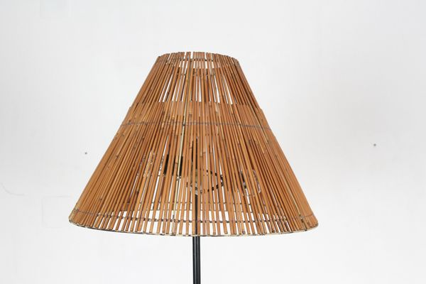 Iron floor lamp with woven shade 1970s for sale at pamono iron floor lamp with woven shade 1970s 2 mozeypictures Gallery