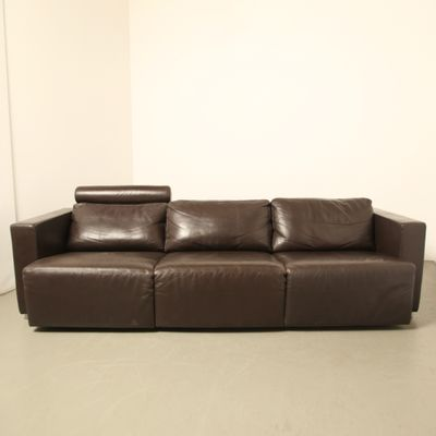 Nice Vintage Modular Brown Leather Sofa By Walter Knoll 1