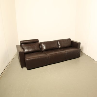 Attractive Vintage Modular Brown Leather Sofa By Walter Knoll 2