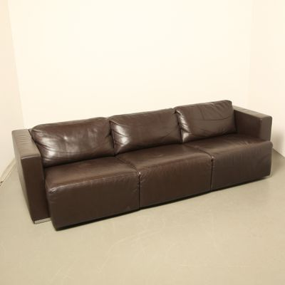 Vintage Modular Brown Leather Sofa By Walter Knoll 3