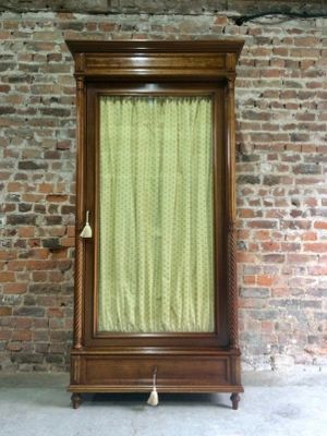 Antique Mahogany Glass Fronted French Armoire Wardrobe, 1890s 1