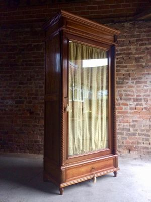 Antique Mahogany Glass Fronted French Armoire Wardrobe, 1890s 2