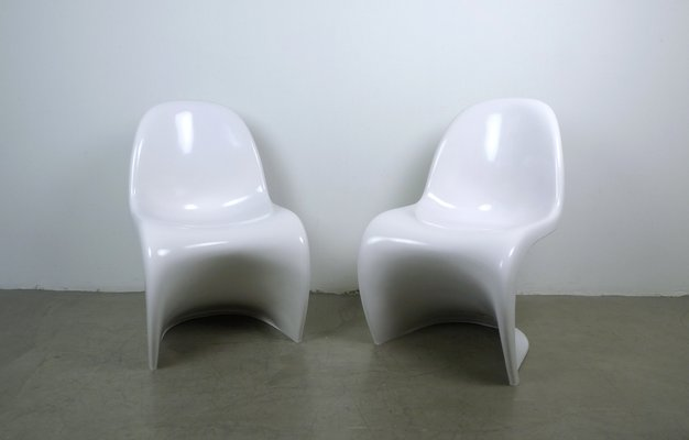White Panton Chairs By Verner Panton For Vitra, 1970s, Set Of 2 1