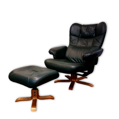 Green Leather Reclining Chair U0026 Footstool From Unico, ...