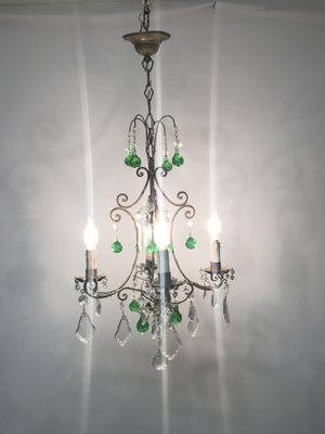 Vintage italian crystal chandelier with green murano glass drops for vintage italian crystal chandelier with green murano glass drops 2 mozeypictures Images