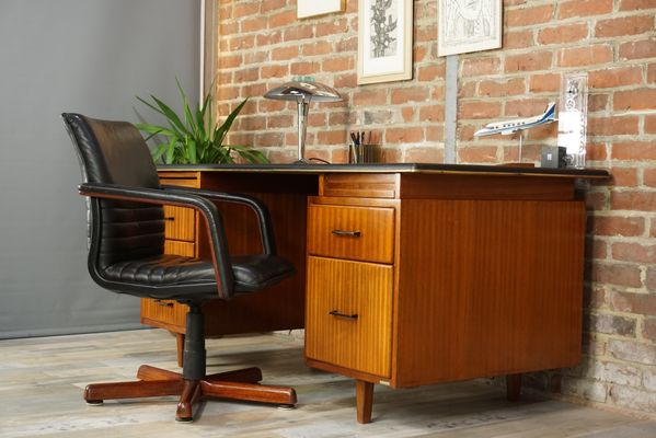 desk chair wood. French Leather \u0026 Wood Swivel Office Chair, 1960s 17 Desk Chair W