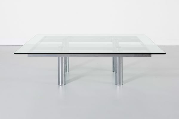 Vintage Square Glass Chrome Coffee Table for sale at Pamono