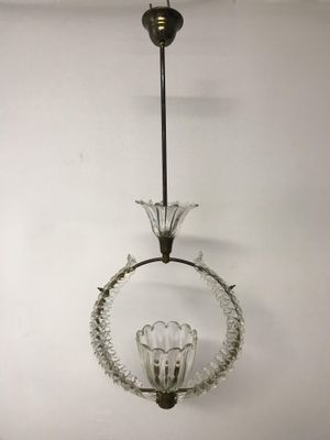 Vintage Murano Glass Pendant Light By Ercole Barovier 1