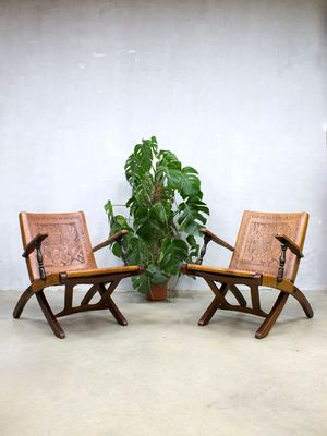 Vintage Ecuadorian Leather Lounge Chairs by Angel Pazmino for ...