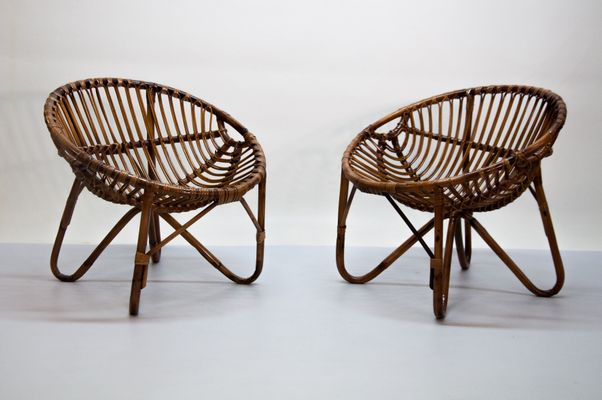 Mid Century Modern Wicker Chairs, Set Of 2, 1950s 1
