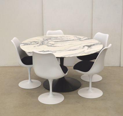 Marble Tulip Dining Set By Eero Saarinen For Knoll International, 1970s 1