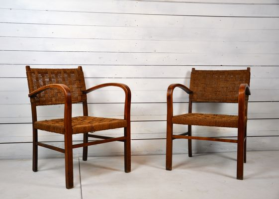 French Beech U0026 Rope Chairs, 1950s, ...