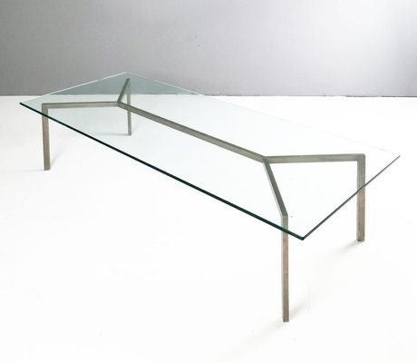 Minimalist Glass Chrome Coffee Table 1960s for sale at Pamono