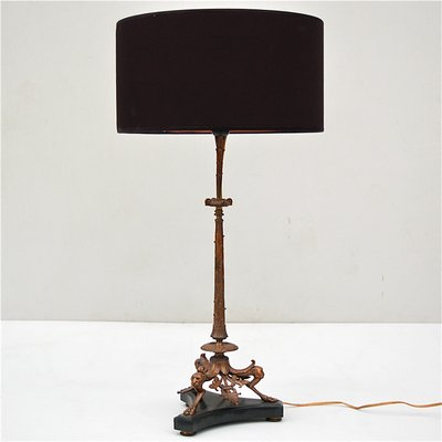 Antique bronze table lamp with marble base 1