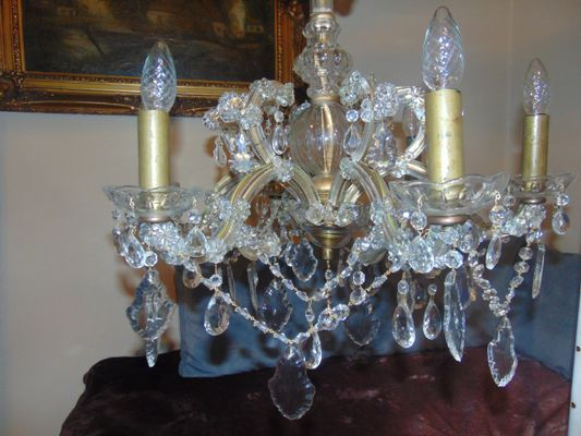Antique crystal glass chandelier for sale at pamono antique crystal glass chandelier 11 aloadofball Choice Image