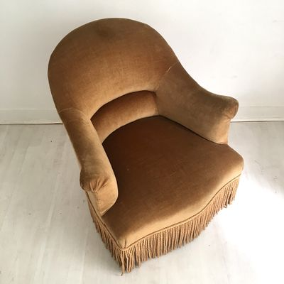 Antique Crapaud Lounge Chair In Brown 4